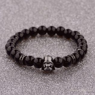 Mens Star Wars Black Lava Stone Bracelet