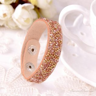 Wide Leather Bracelet With Rhinestones