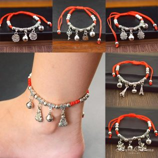 Hot Ethnic Red Rope Bracelet Or Anklet