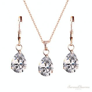 Waterdrop Pendant Necklace And Earrings Set For Women