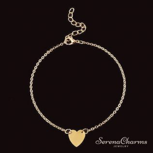 Simple Heart Chain Anklet
