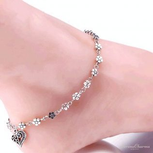 Flowers And Heart Anklet