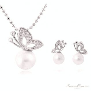 Simulated Pearl Butterfly Jewelry Set