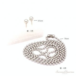 Stainless Steel Beads Necklace And Earrings Set