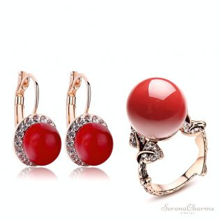 Red Coral Earring And Ring Jewelry Set