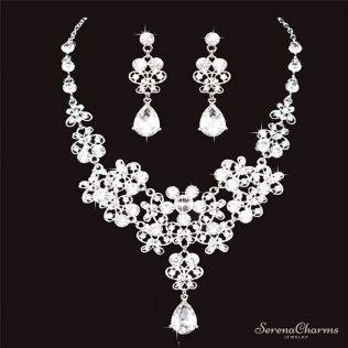Bridal Tiara Crown, Earrings And Necklace Set
