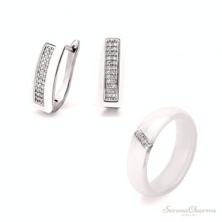 Arrings & Ring With Bling Rhinestones