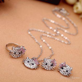 Lovely Cat Earrings, Necklace, Ring Set