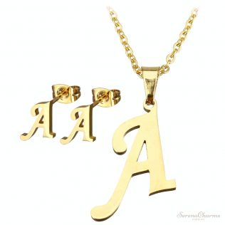 Letter Stainless Steel Jewelry Set