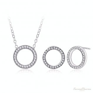 Circle Shape Necklace And Earrings Set