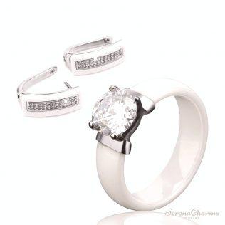 Black White Ceramic Ring & Earrings
