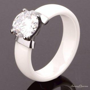 Black White Ceramic Earrings And Ring Set