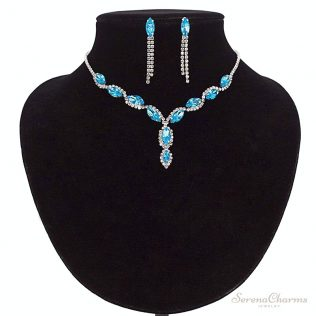 Luxury Crystal Earrings And Necklace Set