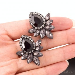 Gray/Pink Metal With Gems Stud Earrings
