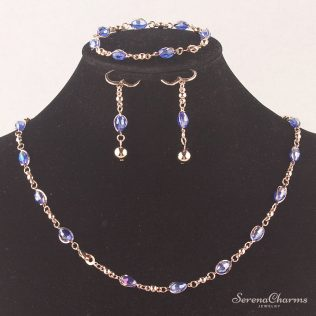 Blue Austrian Crystal Necklace, Bracelet And Earring Set