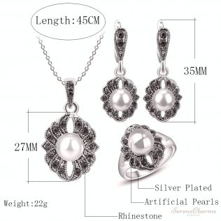 Silver Color Vintage 3 Pcs/Set Jewelry
