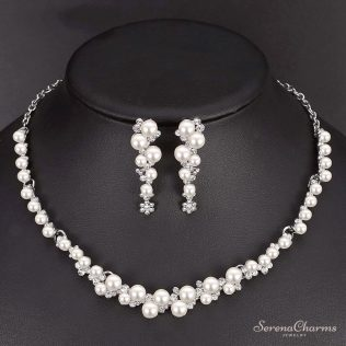 Simulated Pearl Bridal Jewelry Set