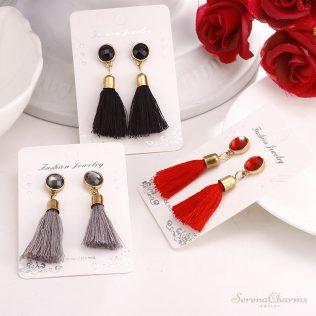 Black Retro Tassel Long Earrings