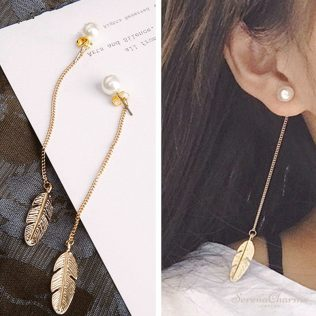 Simulated Pearls Long Tassel Leaf Earrings
