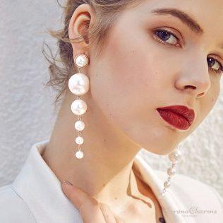 Elegant Big Simulated Pearl Long Earrings