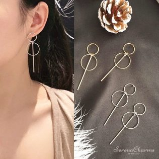Simple Gold/Silver Long Tassel Circle Earrings