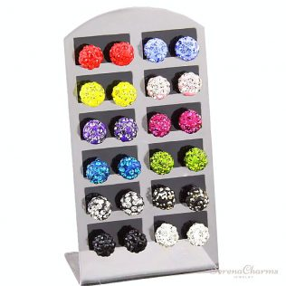 (12 Pairs/1 Lot ) 8mm Multicolor Shamballa Stud Earrings