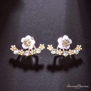 Flower Crystals Stud Earrings For Women