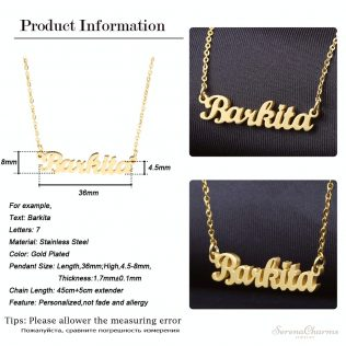 Gold Color Stainless Steel Personalized Custom Necklace