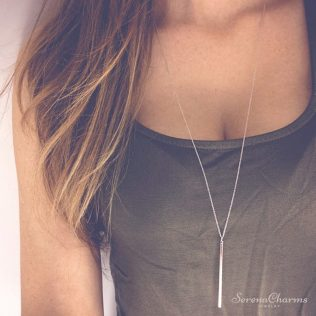 Hollow Girl Long Link Chain Square Copper Necklace