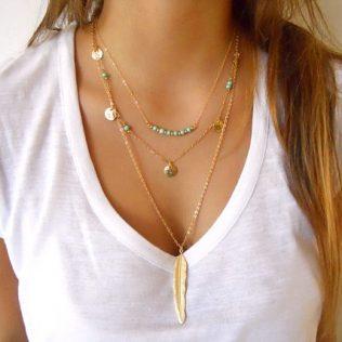 Gold Color Multilayer Coin Tassels Lariat Bar Necklace