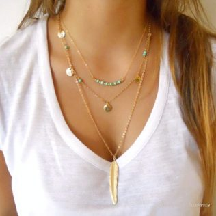 Fatima Hand Multilayer Hammer Chain Necklace