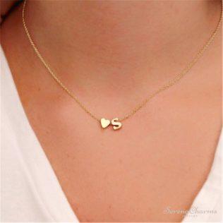 Tiny Dainty Heart Initial Necklace