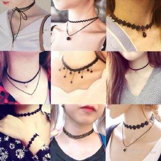 Love, Triangle, Tattoo, Waterdrop, Clavicle Choker Necklace