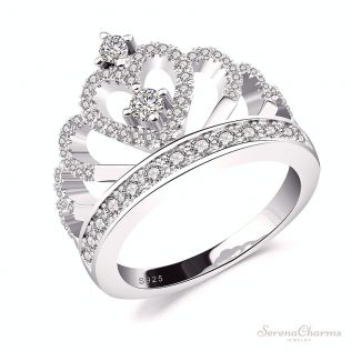Cubic Zirconia Hollow Heart Crown Ring