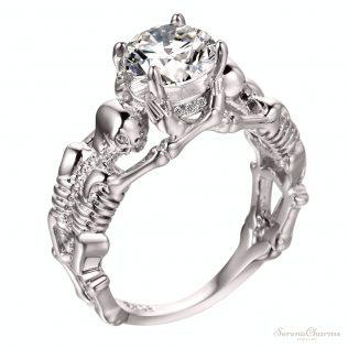Evil Skull Skeleton Hand Cz Ring