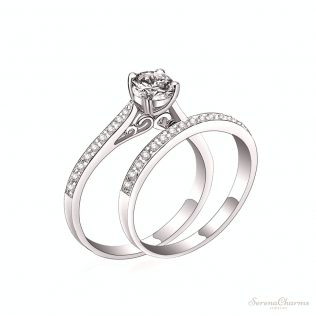 Crystal Engagement Couple Ring