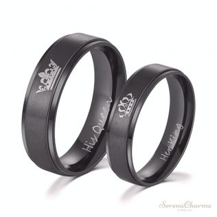 Her King And His Queen Stainless Steel Ring