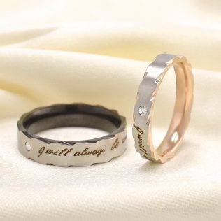 """Romatic """"I Will Always Be With You"""" Stainless Steel Couple Ring"""