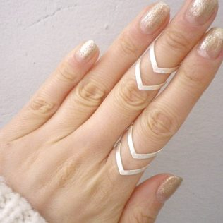 Boho Double Lines V Chevron Ring