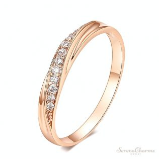 Simple Cubic Zirconia Lovers Wedding Ring