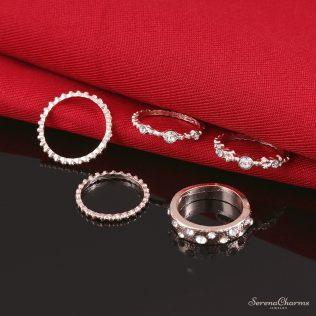5pcs/Set Vintage, Gold Crystal Rhinestone Rings