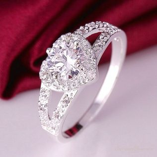 1pc Elegant Silver, Plated Stone Lady Heart Rings