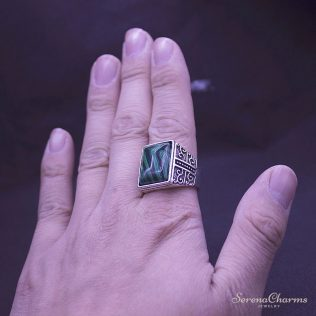 Square Green Stone Ring
