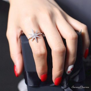 Micro Paved Cubic Zirconia Star Ring