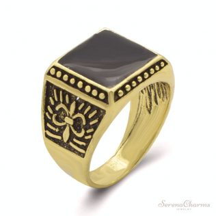 Vintage Square Black Stone Ring