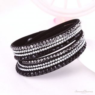 Leather, Rhinestone Crystal Bracelet