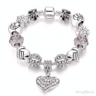 Silver Crystal Charm Bracelet