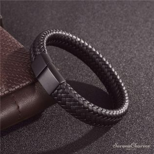 Black/Brown Braided Leather Bracelet