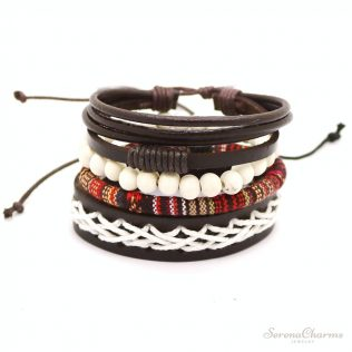 1 Set 4pcs Leather Bracelet