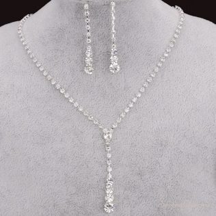 Silver Plated Drop Crystal Necklace